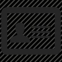 card, id, id card, identity, identity document icon