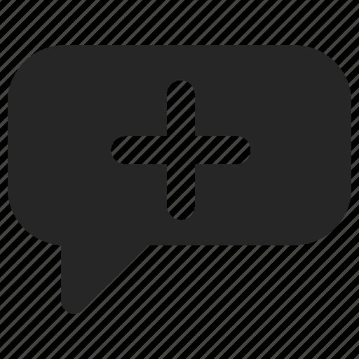 add, bubble, chat, chatting, plus, speech icon