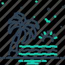 arise, beach, coconut, palm tree, sea, sun, water wave icon