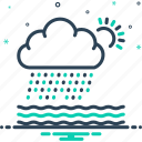 weather, rain, densely, rainfall, heavily, rumble, storm icon
