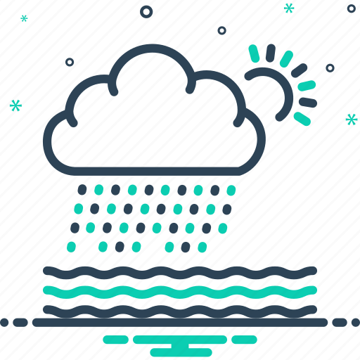 densely, heavily, rain, rainfall, rumble, storm, weather icon