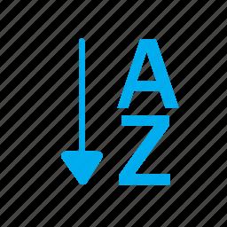 a, a to z, arrow, down, download, orientation, z icon