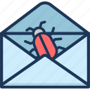 bug, email, envelope, mail, message, spam