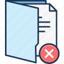 decline, deny, folder, unconfirmed, wrong icon