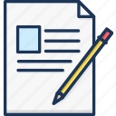 article, note, pencil, sheet, writing icon