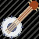 banjo, guitar, music icon