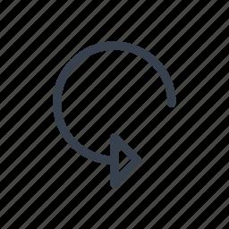 arrow, circular, down, rotate, rotation, turn icon