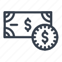cash, cents, currency, dollars, money icon