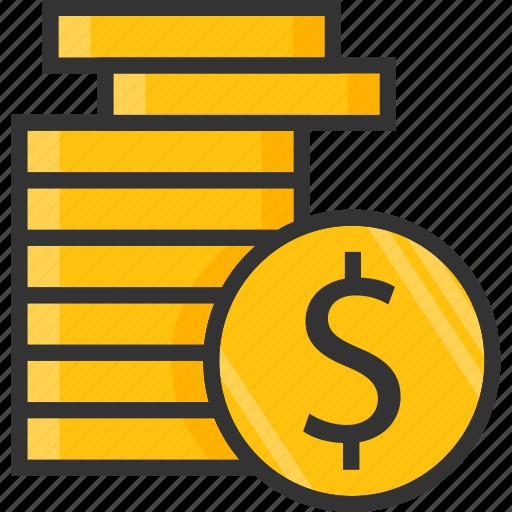 change, coins, dollar, finance, money, sign icon