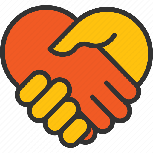 agreement, business, commitment, hand, heart, meeting, shake icon