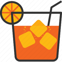 cubes, drink, glass, ice, juice, orange, straw icon
