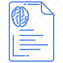 brain, document, paper, text icon