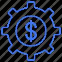 coin, dollar, gear, money icon