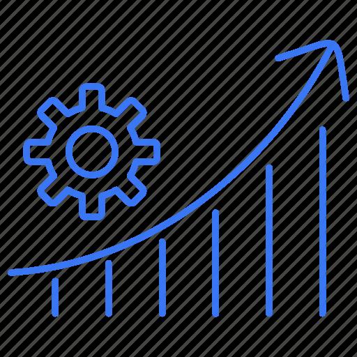 gear, graph, rising, setting icon