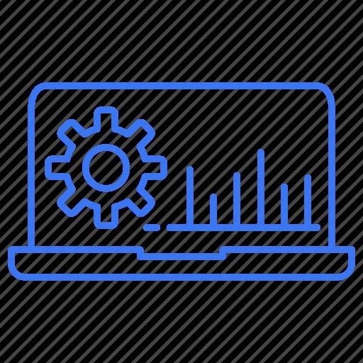 gear, graph, laptop, setting icon