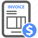 bill, business, dollar, finance, financial, invoice, report icon
