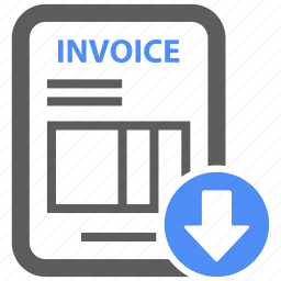 bill, down, download, invoice, page, payment, report icon