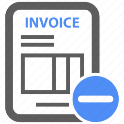 bill, billing, credit, ecommerce, invoice, minus, payment icon