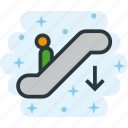 down, downstairs, electric, scalator, staircase, stairs, stairway icon