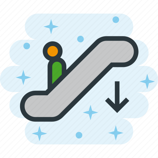 Down, downstairs, electric, scalator, staircase, stairs, stairway icon - Download on Iconfinder