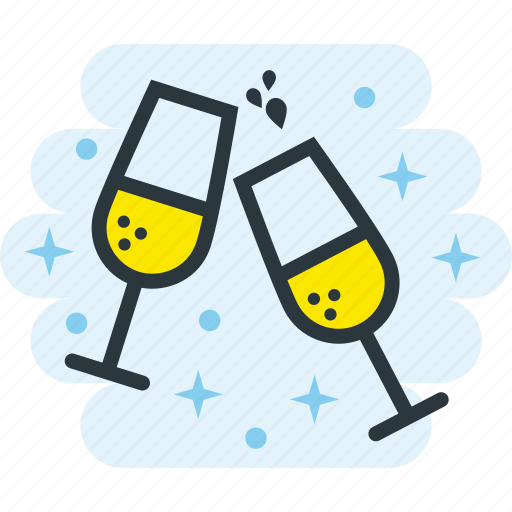 alcohol, celebration, champagne, drinks, glasses icon