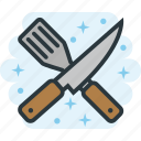 cooking, kitchen, knife, spatula