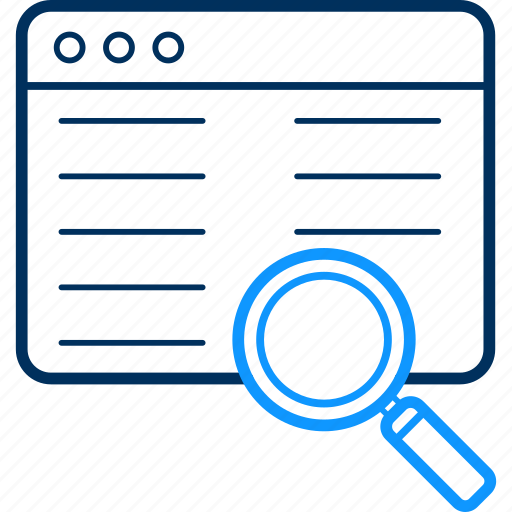 find, glass, magnifier, search, webpage, zoom icon