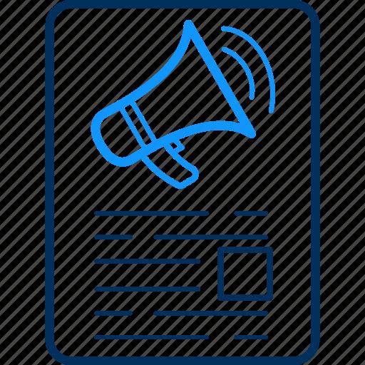 announcement, bullhorn, media, megaphone, page, speaker, web icon