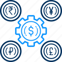 circulation, conversion, currency, finance, money, process, settings icon