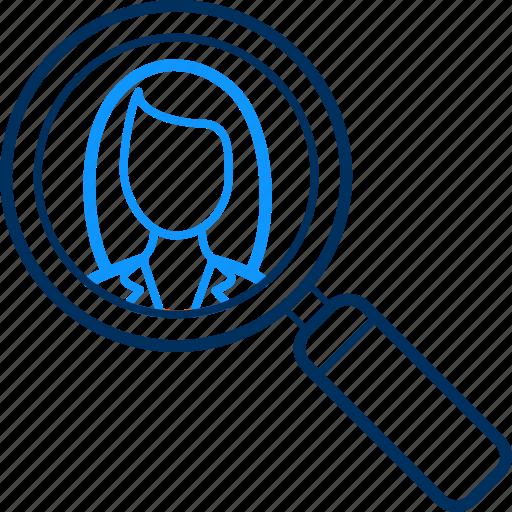 female, search icon