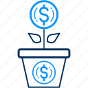 bank, dollar, finance, money, payment, plant icon