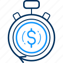 alarm, business, cash, currency, finance, payment icon