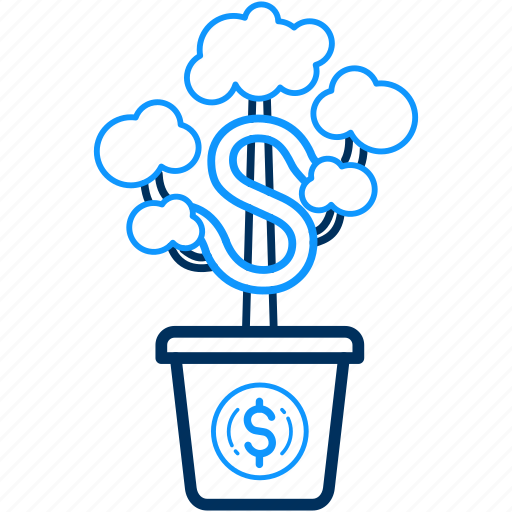 banking, grow, make, money, payment, plant icon
