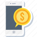 business, cash, currency, mobile, money, payment, phone icon