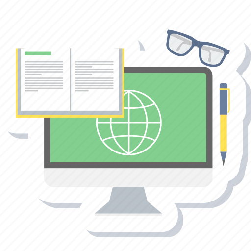 education, elearning, knowledge, learning, online, reading, web icon