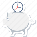 bank, clock, saving, savings, schedule, time, watch icon