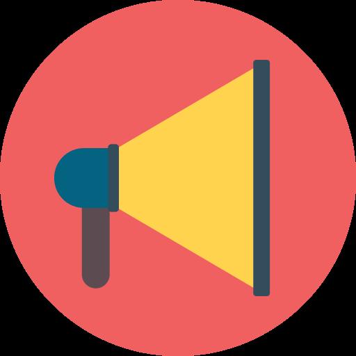 announcement, megaphone, notification, sound icon