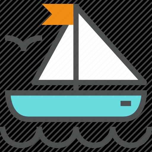 boat, sailboat, sailing, sea, transport icon