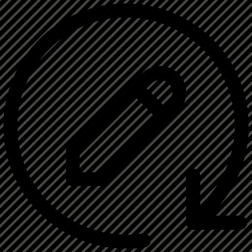 circle arrow, edit, load, pencil, writeicon icon