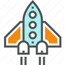 airplane, flight, launch, rocket, space, start up icon