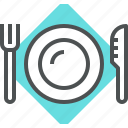 fork, knife, plate, tool icon
