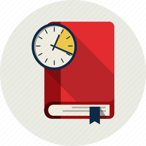 book, education, learning, study, time, watch icon