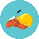 brick, construction, helmet, protection, tool, trowel, work icon
