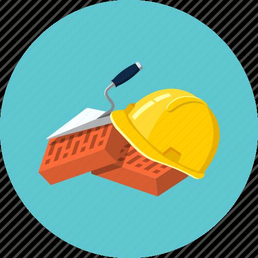 brick, construction, helmet, protection, tool, trowel, work icon