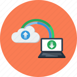 cloud, download, internet, laptop, loading, speed, transfer icon