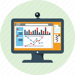 analytics, computer, profit, risk, sales, statistic, stock icon