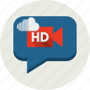 app, bubble, camera, cinema, cloud, film, hd icon