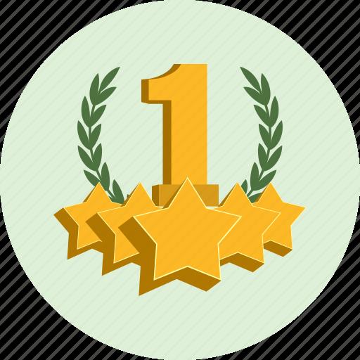 award, badge, best, champion, first, laurel, leader icon