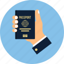 document, hand, information, international, passport, tourist, travel icon