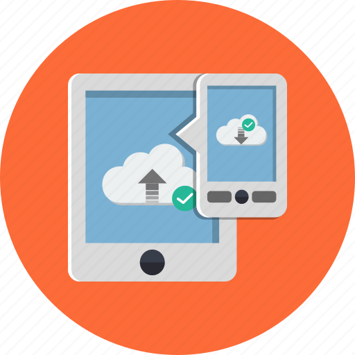 cloud, communication, computing, connection, internet, tablet icon